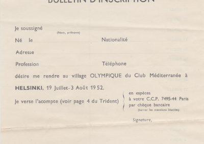 1952 Bulletin d'inscription pour le village d'Helsinki (Jeux Olympiques Eté 52)