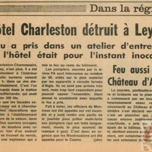 Article de presse paru dan sle journal de Montreux sur l'incendi du Charleston