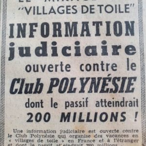 Faillite Club Polynésie